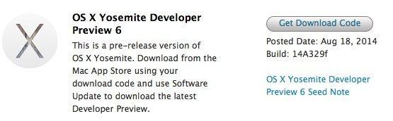 OSX 10.10 beta 6 開放下載