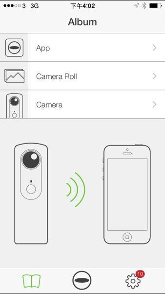 ▲「Theta」App會顯示Wi-Fi 連線情況。