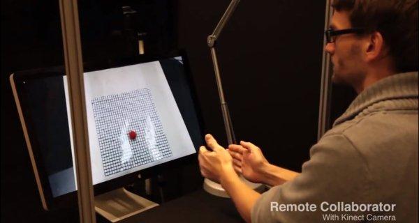 ▲用家可以透過屏幕看到 InFORM 桌上的情況。