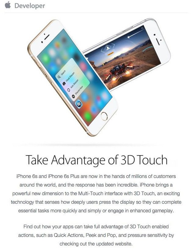 3D touch email