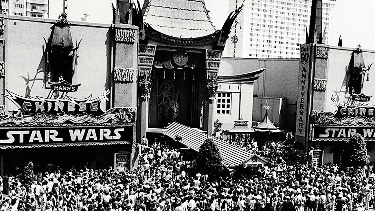 Movie Theater Marquees, 1977 Shown: Star Wars opening engagement at Mann's Chinese Theatre, Hollywood, California