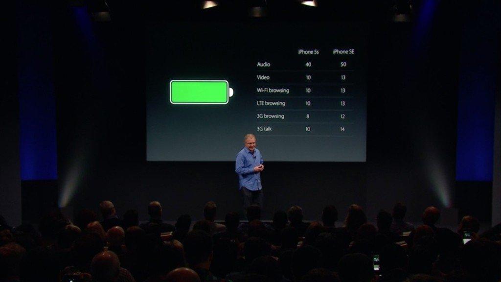 ▲發佈會上Apple 是用 iPhone 5 和 iPhone SE 比較,但從官網的比較會發現, iPhone SE 使用時間其實比 iPhone 6s 還要長