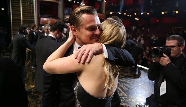 "Leonardo DiCaprio, winner of the award for best actor in a leading role for ""The Revenant"", left, embraces Kate Winslet backstage at the Oscars on Sunday, Feb. 28, 2016, at the Dolby Theatre in Los Angeles. (Photo by Matt Sayles/Invision/AP)"