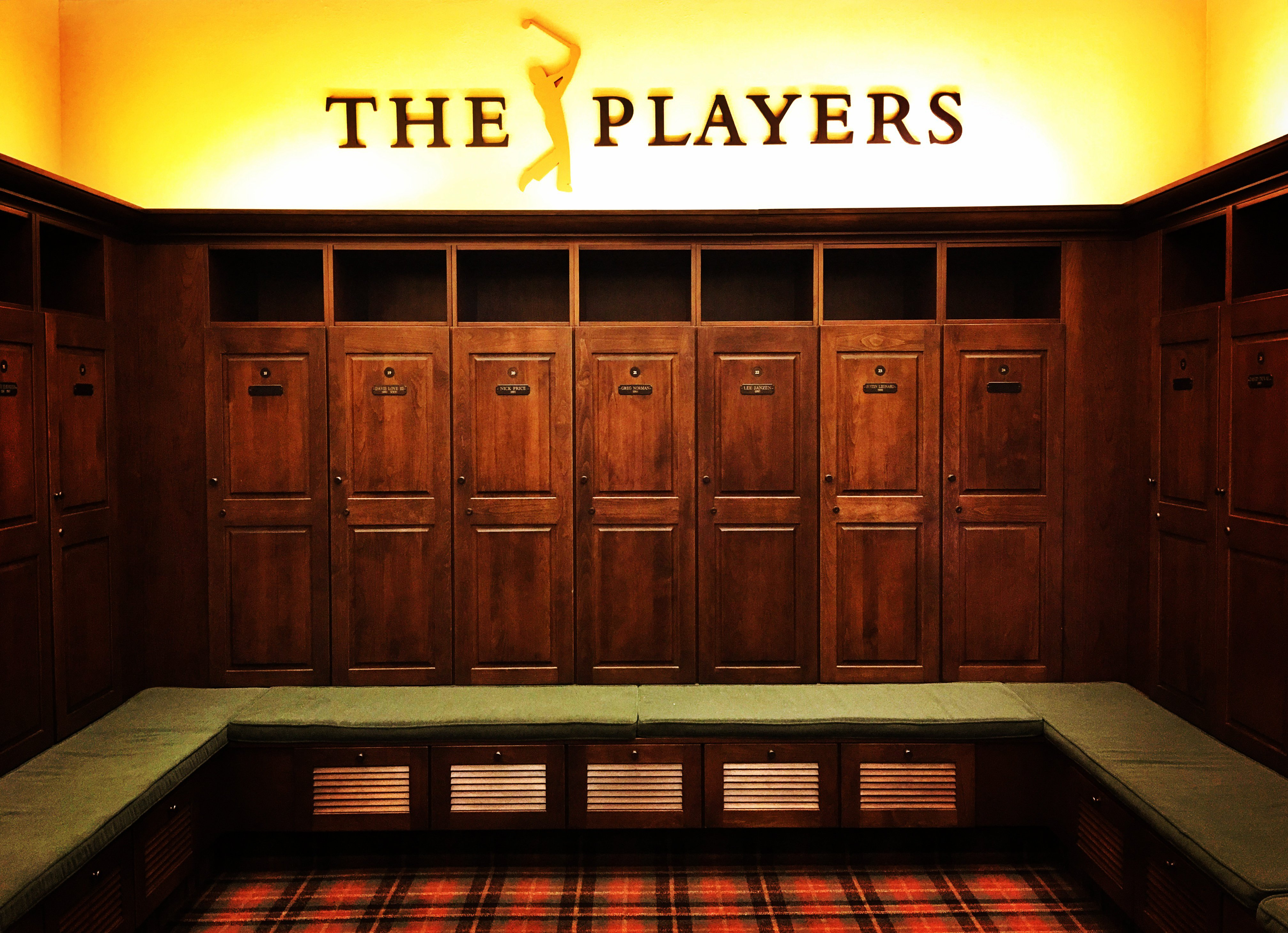 PONTE VEDRA BEACH, FL - MAY 8: Champions locker room in the clubhouse before THE PLAYERS Championship on at TPC Sawgrass on May 8, 2016. (©2016 Brad Mangin/PGA TOUR)