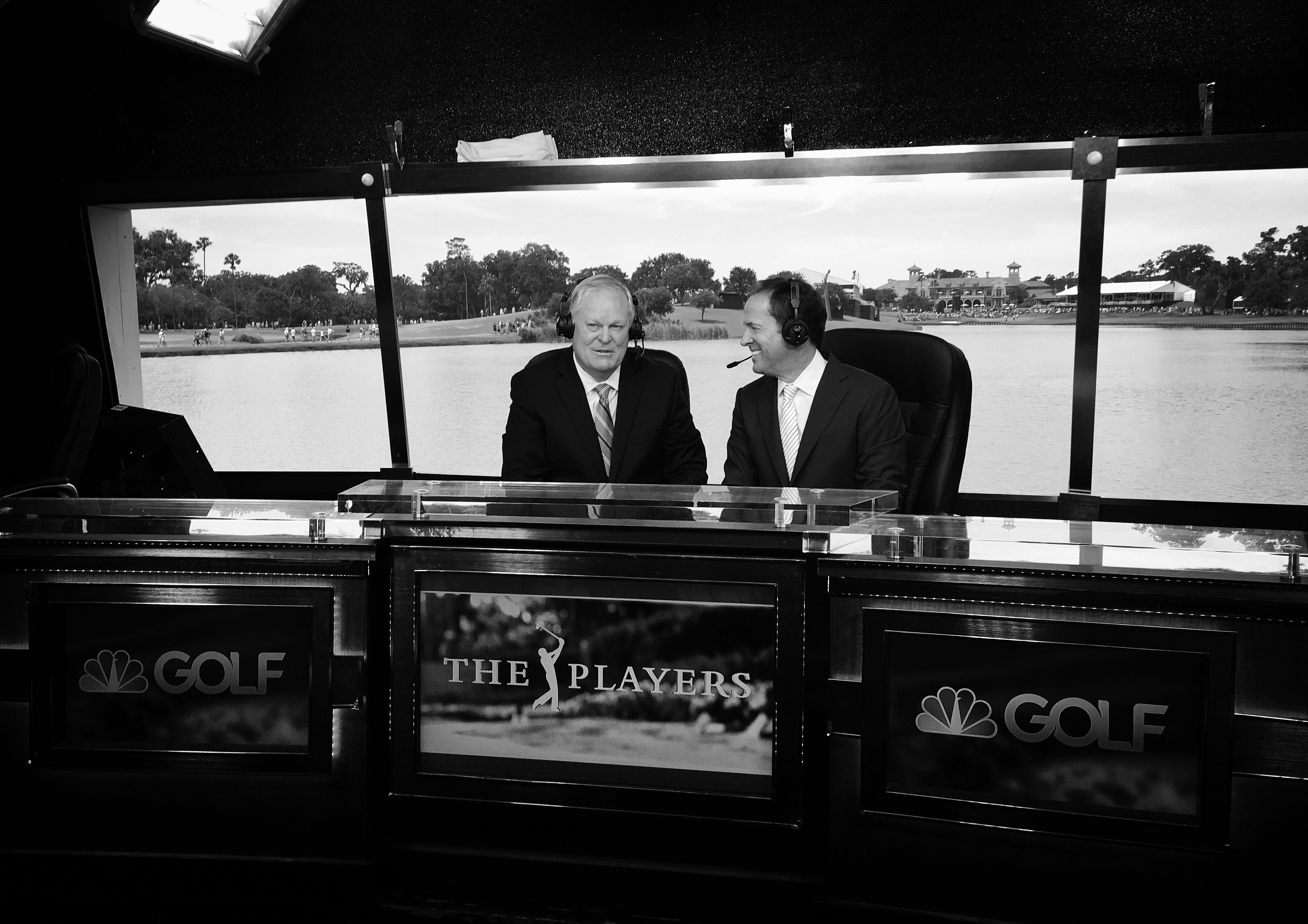 PONTE VEDRA BEACH, FL - MAY 15: NBC sports personalities Johnny Miller and Dan Hicks broadcast live from the studio behind 18 tee during the final round of THE PLAYERS Championship on THE PLAYERS Stadium Course at TPC Sawgrass on May 15, 2016. (©2016 Brad Mangin/PGA TOUR)