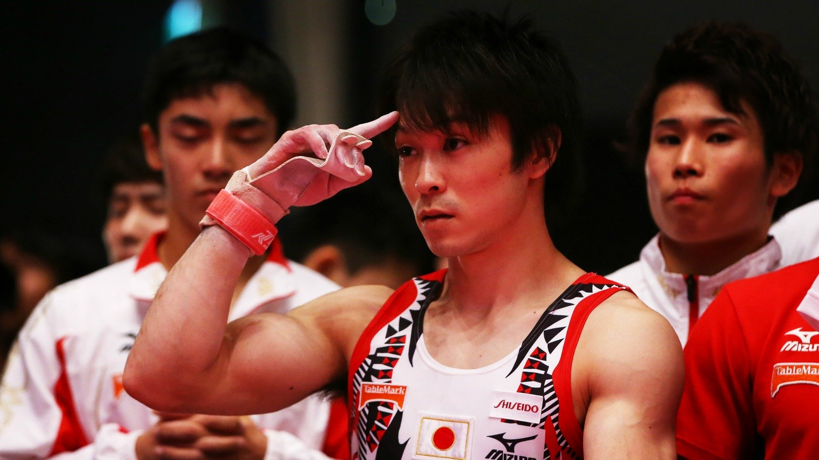 GLASGOW, SCOTLAND - OCTOBER 28: Uchimura Kohei of Japan waits for his score after he competes on the high bar during day six of World Artistic Gymnastics Championship at The SSE Hydro on October 28, 2015 in Glasgow, Scotland. (Photo by Ian MacNicol/Getty images) *** Local Caption *** Uchimura Kohei